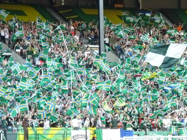 "Fans of Portland (above) and Seattle have been angered by MLS' move to trademark the phrase ""Cascadia Cup."""
